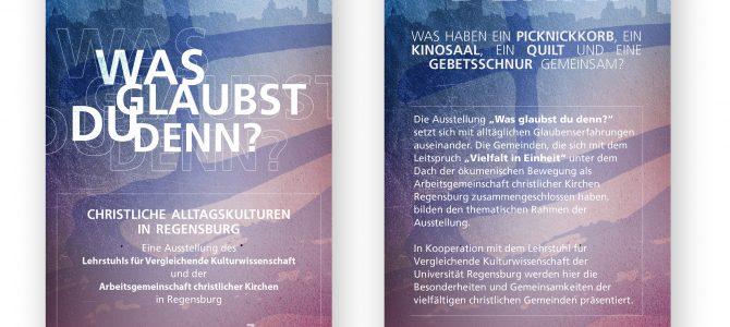 """Најава изложбе хришћанских цркава у Регенсбургу под називом """" Was glaubst du denn?"""""""